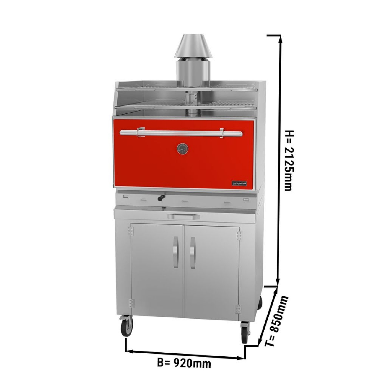 charcoal oven - red 881R
